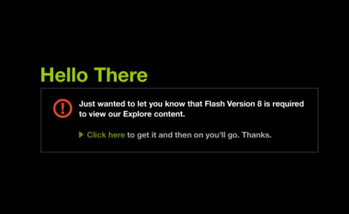 Comcast.com demands that you use Flash 8