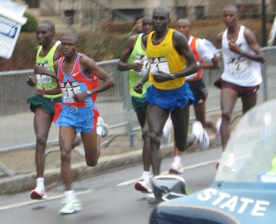 Elite men run the 2007 Boston marathon
