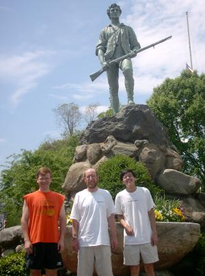 Steven, Austin, and Tim in front of the Minuteman Statue