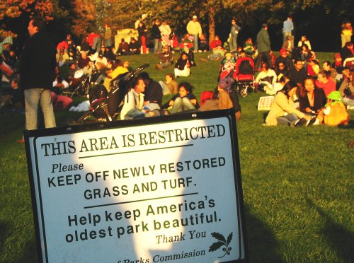 Stay off the grass: to Bostonians it�s just a suggestion